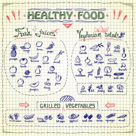 Healthy Food Menu List With Hand Drawn Assorted Fruits And