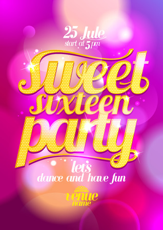 sixteen: Sweet sixteen party design with gold letters against bokeh backdrop.