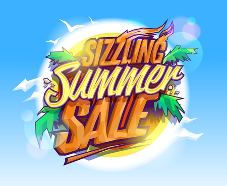 sizzling: Sizzling summer sale, hot tropical design concept, sun, palms leaves and sky