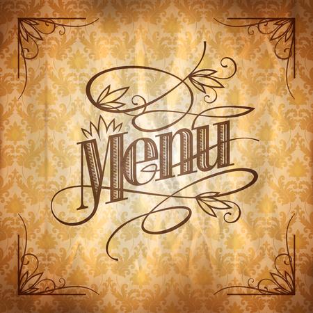 retro restaurant: Vintage style restaurant menu floral design, against chic retro damask paper backdrop, golden beige and brown colors
