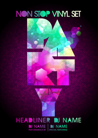 headliner: Non stop party design, modern polygon style, copy space for text