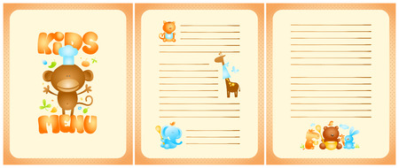 front page: Funny kids menu list design with front page and pages for dishes, with cute cartoon animals Illustration