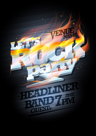 headline: Rock party poster design mockup, burning metal headline text and copy space