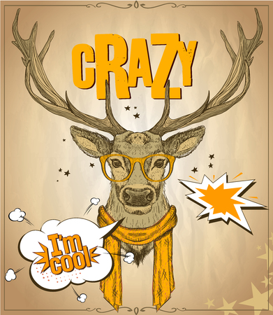 whitetail deer: Fashion hipster deer dressed in orange glasses and scarf, telling I am cool, against old vintage paper  backdrop, crazy quote card, handdrawn vector illustration Illustration