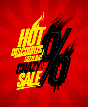 sizzling: Hot discounts sizzling crazy sale design concept, burning percents against deep red rays backdrop