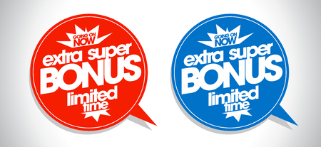 go to store: Extra super bonus coupons set in form of speech bubbles.