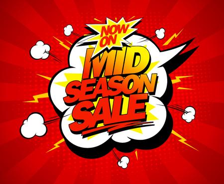 bomb price: Mid season sale pop-art design mock up with speech bubble