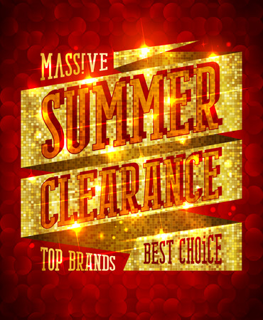 riches: Massive summer clearance design concept, top brands, best choice, rich golden sale banner with sparkles
