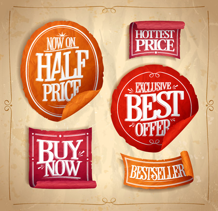 promotional offer: Half price save, exclusive best offer, hottest price, buy now, best selller, promotional sale stickers and ribbons set, vintage style Illustration
