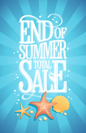 end of summer: End of summer total sale design concept, blue water  backdrop with starfishes, shell and air bubbles, vintage style