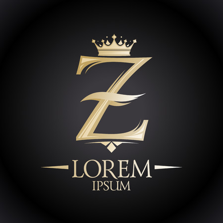 crown logo: Chic royal golden Z letter logo with crown