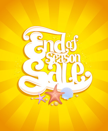 end of summer: End of season sale design, summer sale concept, bright yellow vintage style backdrop with rays