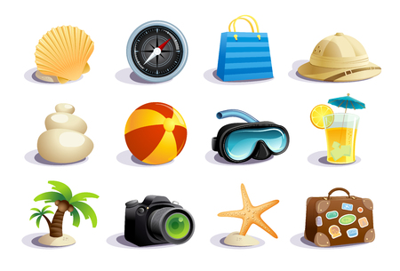 Summer days symbols and icons vector mega collection, vacation, tourism and relax concept Çizim