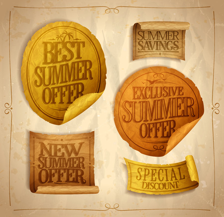 bleached: Summer seasonal sale stickers and ribbons set, best, exclusive and new summer offer, special discount, mega savings, vintage style bleached colors, crumpled paper