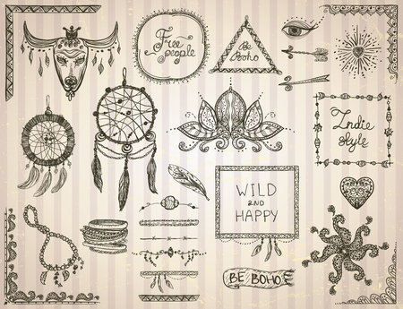 bracelets: Hand drawn sketch elements set in boho style, hippie, indie style, tattoo templates, dream catcher, necklace and bracelets, frames, dividers and flowers
