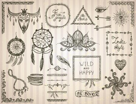 Lments de croquis dessinés à la main mis dans le style boho, hippie, le style indie, des modèles de tatouage, le receveur de rêve, collier et bracelets, des cadres, des diviseurs et des fleurs Banque d'images - 61573635
