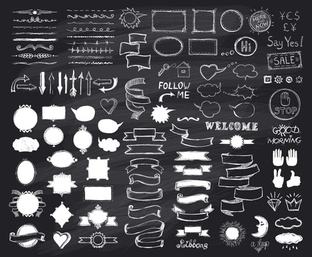 phrases: Chalk hand drawn sketch elements on chalkboard, vector  illustration, doodle graphic line elements, vintage style ribbons, frames, dividers, brushes, silhouettes and phrases on a chalkboard
