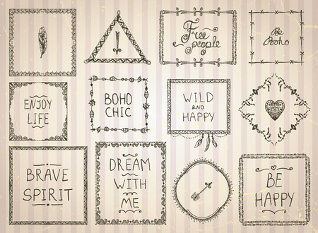 philosophy: Fashion hand drawn sketch frames and philosophy quote phrases mega set in boho style, hippie, indie style, vector illustration Illustration