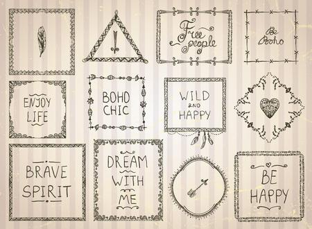 Fashion hand getekende schets frames en filosofie citaat zinnen mega in boho stijl, hippie, indie stijl, vector illustratie