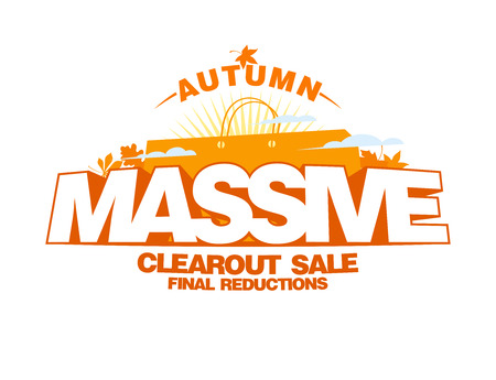 massive: Autumn massive clearout sale design mock up, autumn clearance poster with shopping bag
