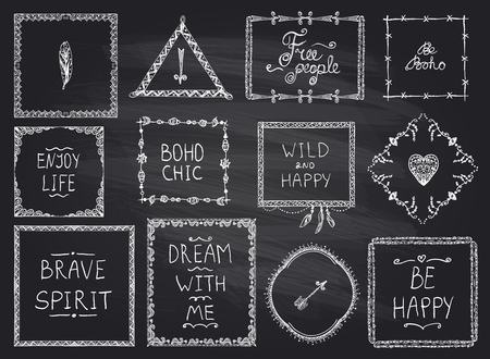 indie: Chalkboard fashion hand drawn frames and philosophy quote phrases mega set in boho style, hippie, indie style, wild and happy concept Illustration