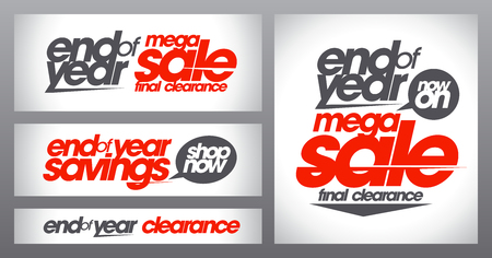 the end of the year: Mega sale posters collection, end of year savings banners set, final clearance, shop now Illustration