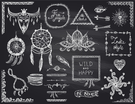 indie: Chalkboard hand drawn sketch elements set in boho style, hippie, indie style, dream catcher, necklace and bracelets, frames, dividers and flowers