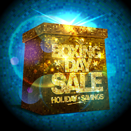 boxing day sale: Boxing day sale design with shiny golden gift box
