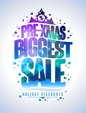 pre: Pre xmas biggest sale poster, holiday discounts design concept