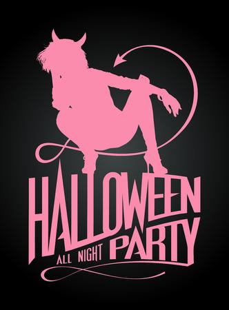 devil girl: Halloween party sign, devil girl pink silhouette