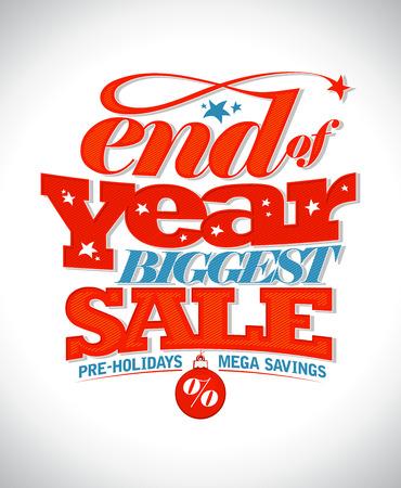 end: End of year biggest sale text banner. Illustration