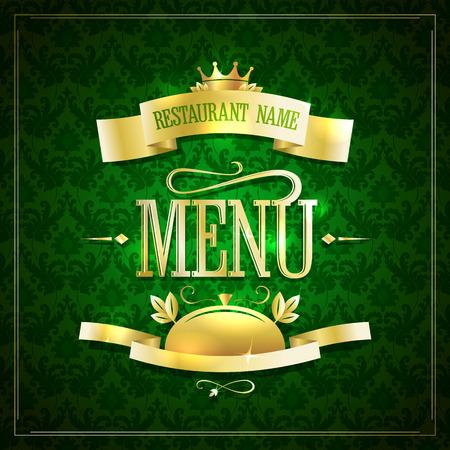 backdrop design: Dark green with gold restaurant menu design with ribbons against chic dark green damask backdrop Illustration