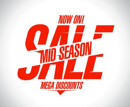 season: Mega discounts, mid season sale banner.