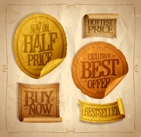 hottest: Half price savings, hottest price, best offer, buy now, sale stickers set on a vintage rough paper Illustration