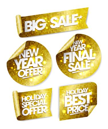 Golden stickers set - big sale, new year offer, new year final sale, holiday special offer, holiday best price Illustration