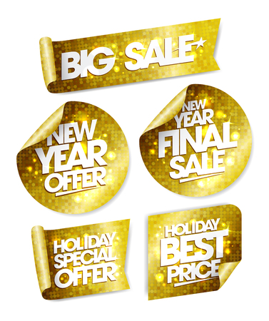 offer: Golden stickers set - big sale, new year offer, new year final sale, holiday special offer, holiday best price Illustration