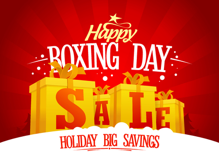 boxing day sale: Boxing day sale design concept with golden gift boxes, holiday savings banner