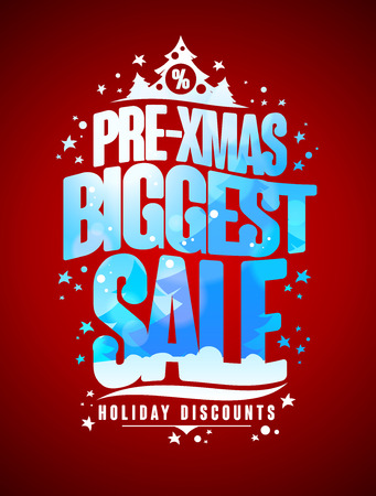 biggest: Pre-xmas biggest sale design concept, new year and christmas holidays discounts poster Illustration
