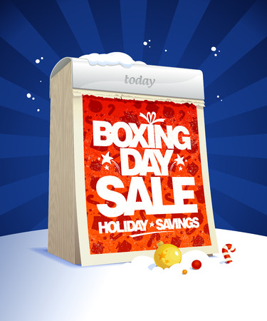 boxing day sale: Boxing day sale design with tear-off calendar, winter holiday savings poster