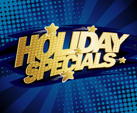 online specials: Holiday specials vector design, sale poster concept, golden letters and stars