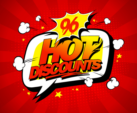 Hot discounts vector sale illustration in pop-art style, bright red backdrop and speech bubble Illustration