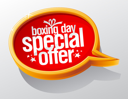 boxing day sale: Boxing day special offer, golden sale speech bubble symbol concept