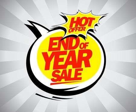 End of year sale, hot offer pop-art design concept Illustration