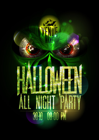 red eyes: Halloween all night party poster with green evil beast and red eyes, golden mosaic headline and copy space for text Illustration