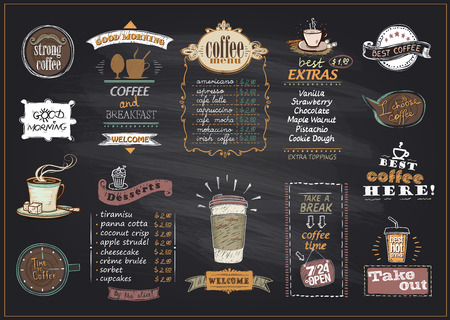 Chalkboard coffee and desserts menu list designs set for cafe or restaurant. Best coffee, good morning, welcome, take out concepts collection, copy space for text, hand drawn illustration