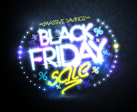 Black friday sale, massive savings poster design concept, neon style