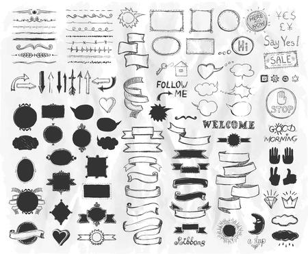 Éléments d'esquisse graphique dessinés à la main sur un papier, illustration vectorielle, éléments de ligne graphique doodle, rubans de style vintage, cadres, diviseurs, pinceaux, silhouettes et phrases