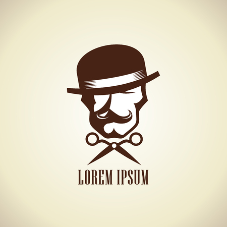 Concepto de la insignia del peluquero con las tijeras y el hombre inconformista vestido con sombrero de hongo con un bigote Ilustración de vector
