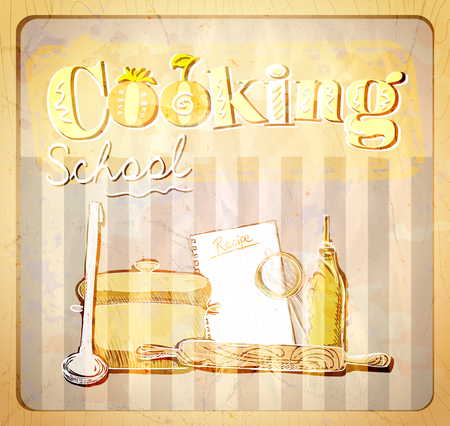 chefs cooking: Cooking school hand drawn graphic illustration with utensils, vintage style
