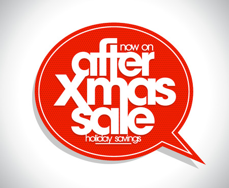 arrival: After xmas sale speech bubble sticker mockup, holiday savings concept Illustration